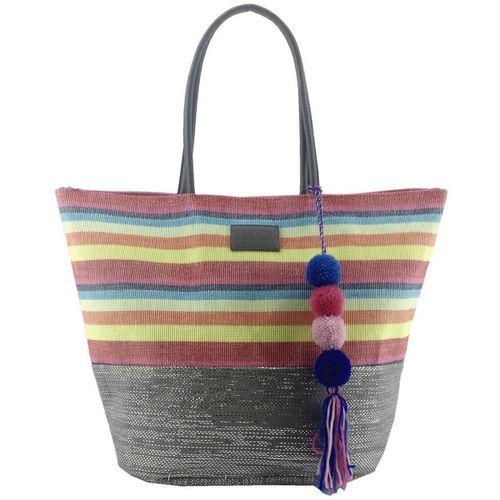 Playero Trendy rafia c/ base y franjas multicolor manijas simil