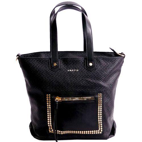 Shopper Amayra texturado c/bolsillo c/cierre combinado